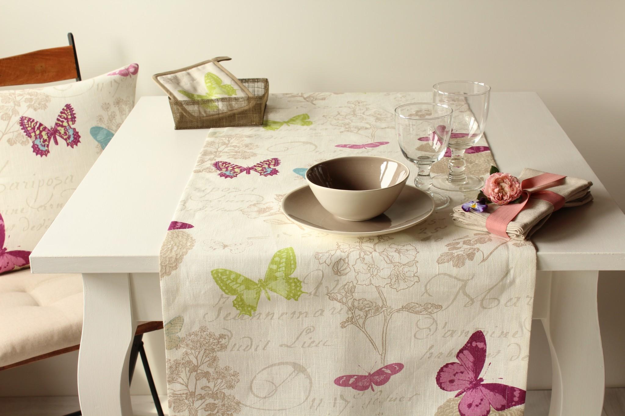Runner butterfly giardino di rose biancheria per la - Runner da tavolo moderno ...