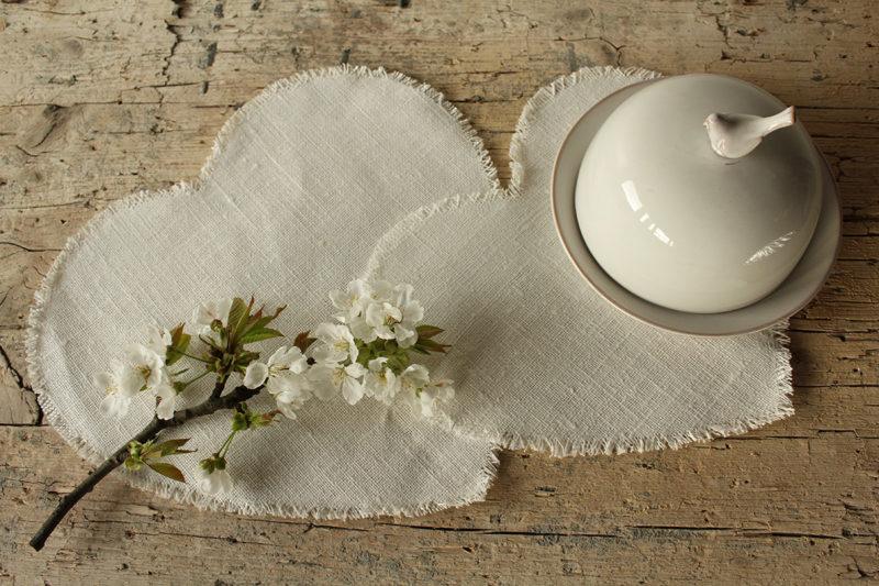 cuore lino bianco